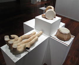 "Photo: Drums and horns by Barry Hall and Ward Hartenstein. Exhibition of ceramic musical instruments at The Bascom Arts Center in Highlands, NC. The exhibit, curated by Barry Hall and Brian Ransom, features musical instruments created by ceramic artists from around the world, as featured in the book ""From Mud to Music"" by Barry Hall."