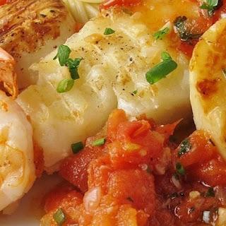 Alaskan Cod and Shrimp with Fresh Tomato.