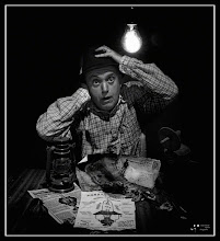 Photo: This is one of my craziest photos. In a contest of national character in Spain, whose theme was the centenary of the arrival of electricity in a village called Martorell, I I competed with this crazy self-portrait, where I am stunned to see the first light bulb. I did the second prize. I can assure you that I am a serious person. :)))))  My contribution to: #filmnoirfriday curated by +Thorn Button +Kel Hayner and +Paul Wright