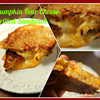 Pumpkin Four Cheese Grilled Sandwich for #NationalGrilledCheeseDay.