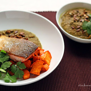 Delicious New Mexico Chili Pipian Verde Sauce with Grilled Salmon.