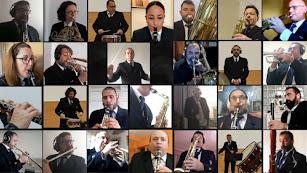 Músicos de la Banda Municipal durante su último concierto virtual.