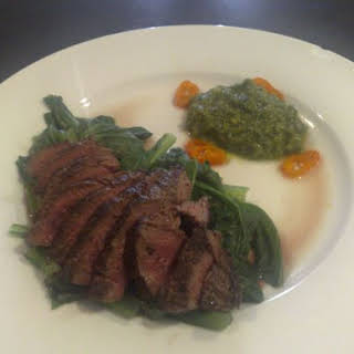 Peppered Roo Fillet With Choy Sum & Corander Pesto.