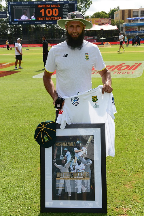 Hashim Amla before his 100th Test at Bidvest Wanderers Stadium on January 12, 2017 in Johannesburg. Picture: GALLO IMAGES
