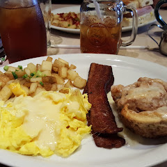 G.F. Cinnamon Roll Breakfast with eggs, harbor potatoes and cherry bacon.  Awesome!!!