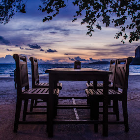 Perfect Table, Perfect Evening !! by Prathap Gangireddy - Artistic Objects Furniture ( waterscape, thailand, table, beach, travel, landscape, krabi, sun, beaches, sky, vacation, travelling, sunsets, sunset, trip, travelure, travel photography, travel locations )