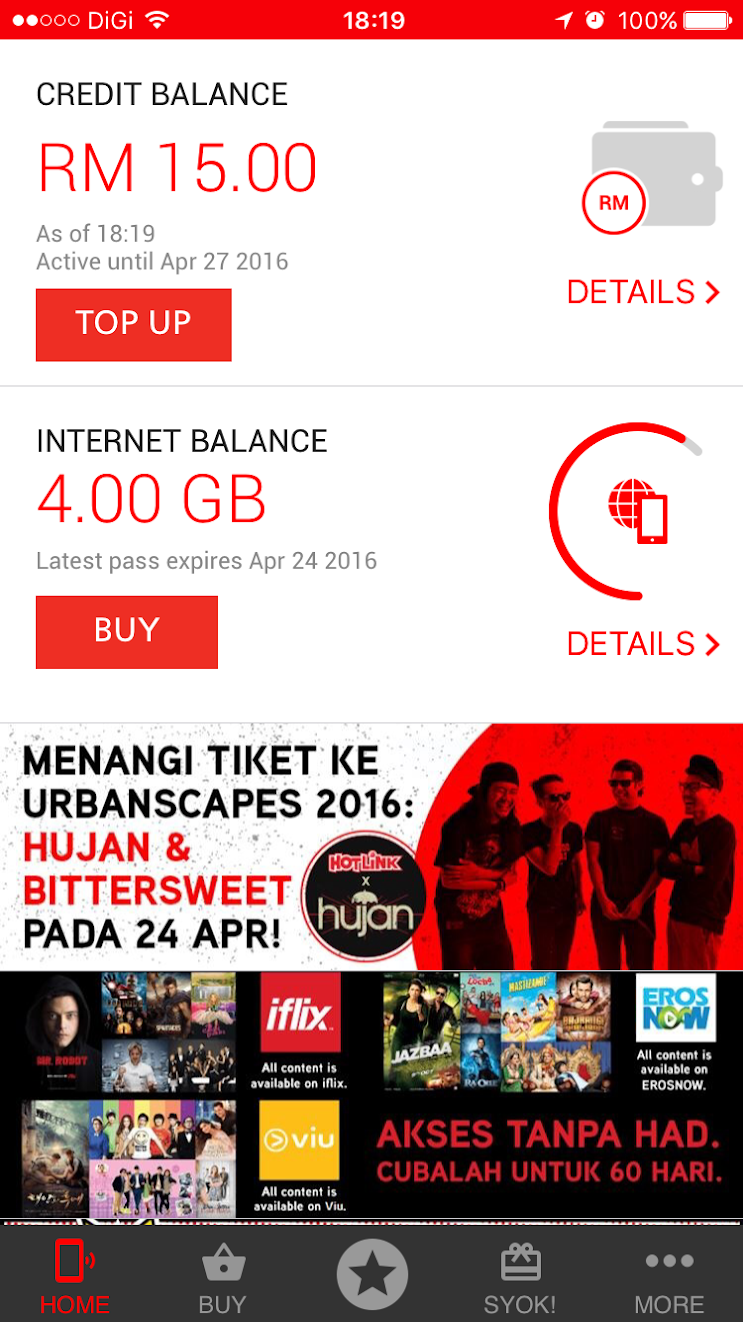 Maxis Hotlink app interface