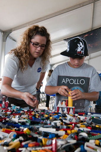 STS-133 LAUNCH LEGO EVENT FOR STUDENTS ON NASA CAUSEWAY.