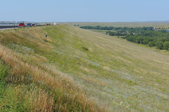 Photo: As can be seen here, Kingsley Dam is an earthen dam. Lake Ogallala was formed during its construstion to provide fill.