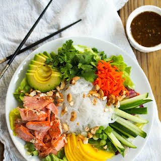 Curry Salmon Noodle Bowl with Mango and Soy-Lime Dressing.