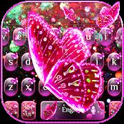 Pink Glitter Butterfly Keyboard Theme