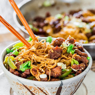 Mongolian Beef Ramen Noodles.