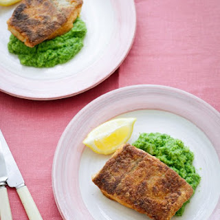 Spiced and Fried Haddock With Broccoli Puree.