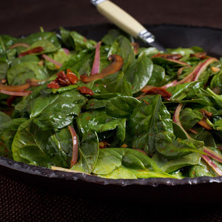 Warm Spinach Salad With Mushrooms and Sun-Dried Tomatoes.
