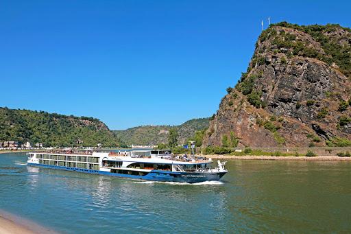Avalon-Artistry-II-Lorelei - Avalon Artistry II cruises past Lorelei Rock on Germany's Rhine River.