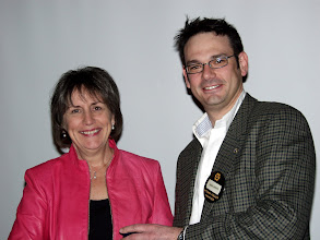 Photo: Susan Clinesmith received a Golden Circle Research Promotion Donor Award on behalf of Enbridge, from Robert Lefebvre