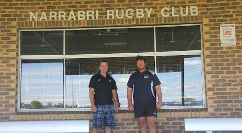 New Blue Boars president Paul Sloman and first grade coach Dylan Duncan at Dangar Park on Wednesday.