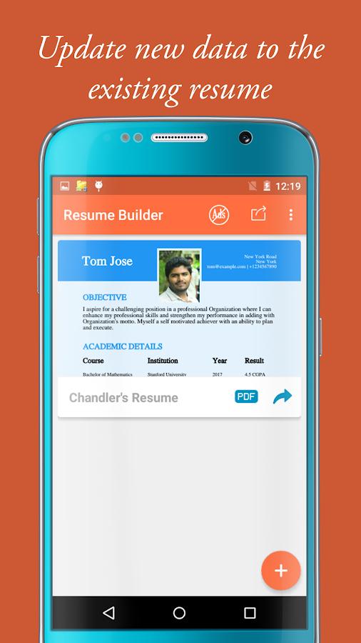 my resume builder cv for free professional jobs screenshot