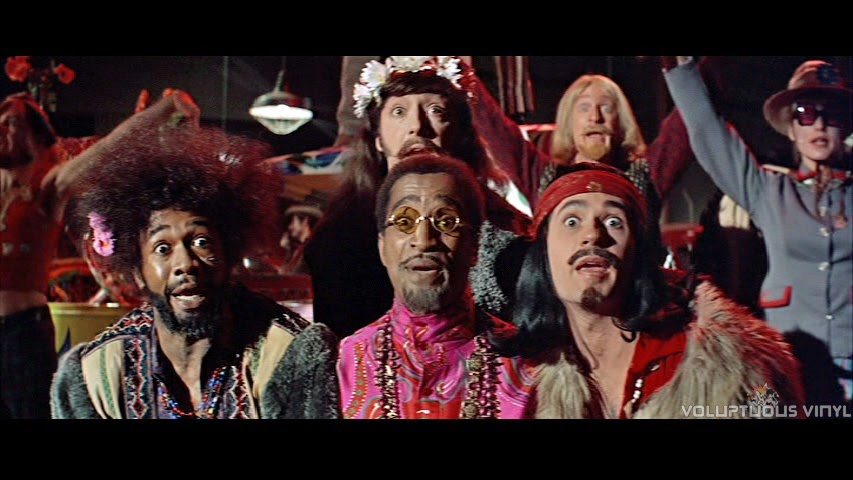 Sammy Davis leads a group of hippies in song!