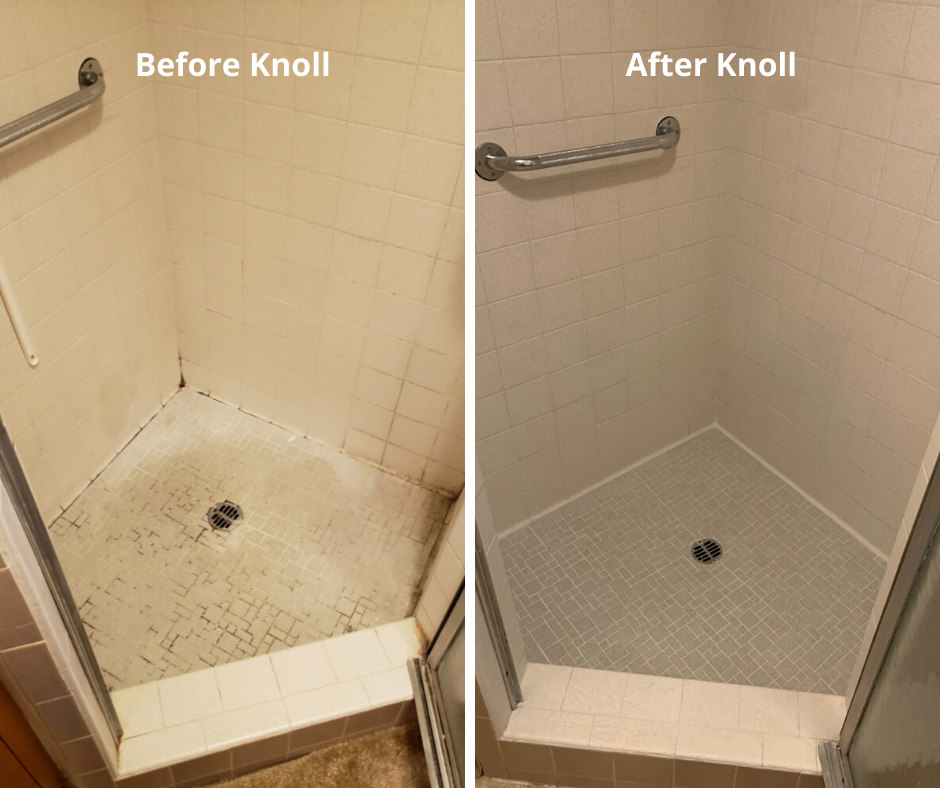 Shower cleaning before and after, Hammond Knoll