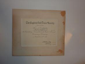 Photo: A Certificate of Country Dancing (1929 Dec. 11) to Mabel Kilpatrick. 英国フォークダンス協会からマーベル・キルパトリックに贈られたカントリー・ダンス、基礎試験の合格証(1929年12月11日付)