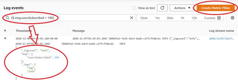 logs create metric filter screenshot
