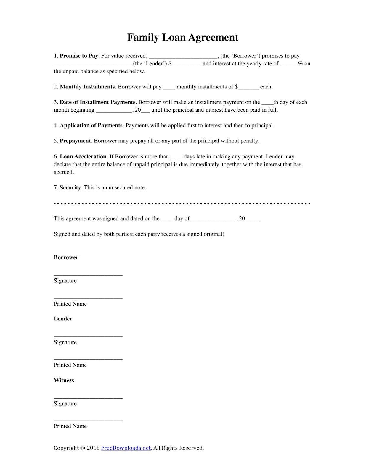 Family Loan Agreement Template Free   Huuti