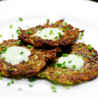 Zucchini Pancakes with Basil Chive Cream.