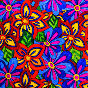 Floral Blast by Amada Gonzalez - Abstract Patterns ( abstract, hippie, digital art, art, flowers )