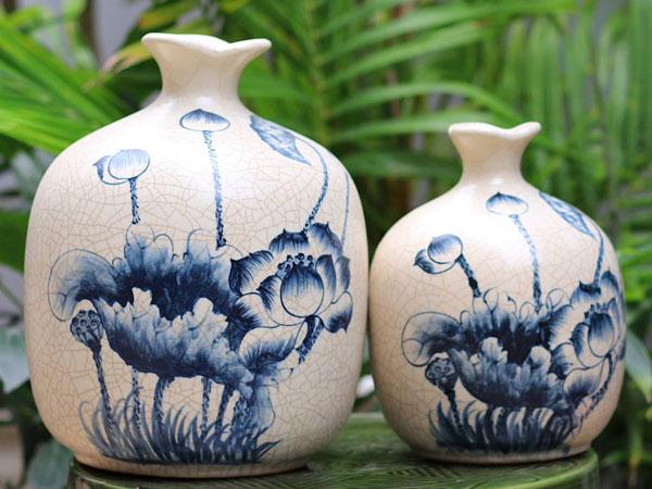 Lotus flowers on Bat Trang ceramics.