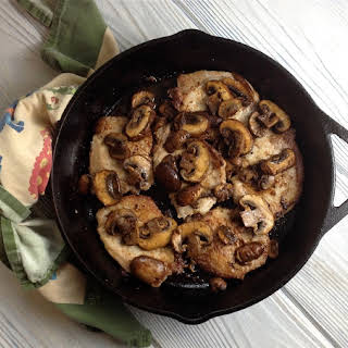 Buttery Skillet Pork Chops with Baby Bella Mushrooms.