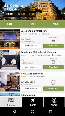 android Barcelona Hotels and Flights Screenshot 0