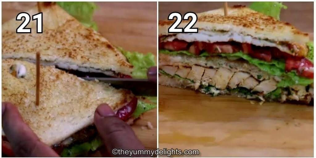 step by step image collage of slicing the chicken club sandwich