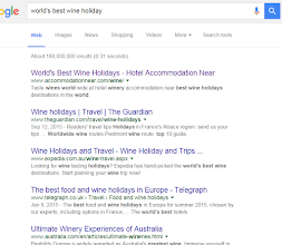 "Photo: Still ""organic"" #SERP  first for ""world's best wine holiday"" with our www.accommodationnear.com/wine"