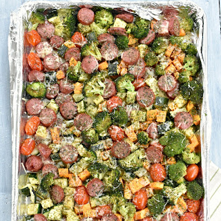 One Pan Roasted Vegetables and Sausage Recipe