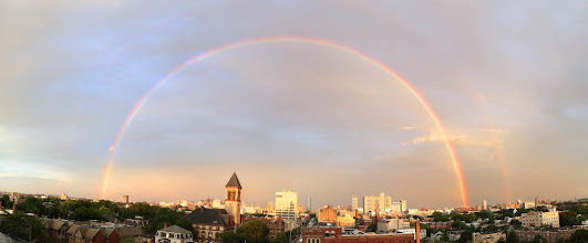 Photo: Double rainbow all the way  Taken after last night's thunderstorm; Central Square, Cambridge, MA, looking down Mass Ave and past City Hall towards Boston.  I took photos (with a new lens -- Canon's 24-105 f/4 IS) and stitched them into a panorama using Hugin, and +Madeleine Balldid color enhancement and straightening.