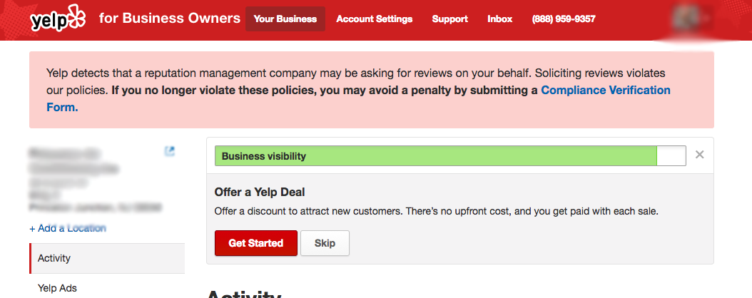 Answer the Yelp Compliance Verification Form