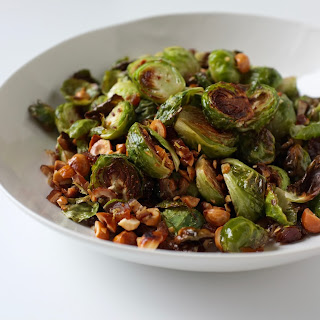 Roasted Brussels Sprouts With Hazelnuts and Dates.