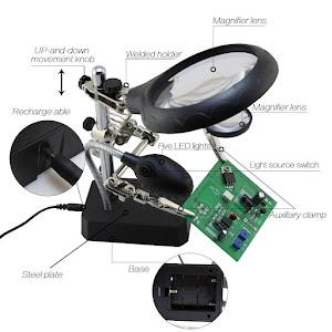 Set lupa cu LED cu stand de lipit si sudare, Andowl Q-GJ5