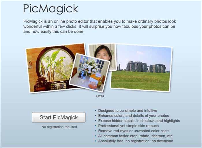 picmagick 16 Melhores Editores de Fotografia Gratis para Utilização Online