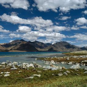 Lakeside - Pangong by Rohit Chawla - Landscapes Mountains & Hills ( changthang, himalaya, pangong, pangong lake, cosurvivor, ladakh, landscape, roadtrip, high altitude lake )