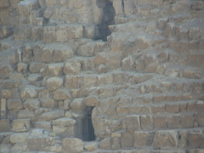 Photo: Holes in the side of the pyramid.