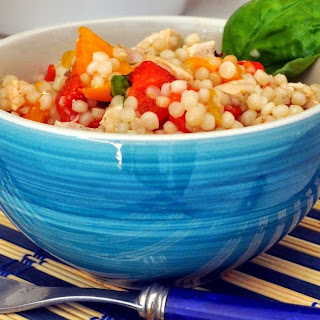 Pearl Couscous Salad with Chicken and Grilled Peppers.