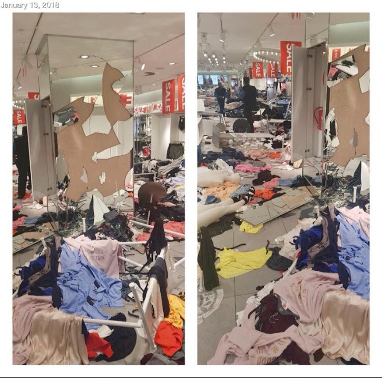 A ransacked H&M store. Picture: TWITTER/@FloydShivambu
