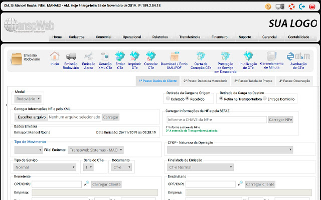 Transpweb TMS - Consulta de Documentos NFe
