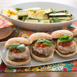 "Pizza Burgers with Garlic-Parmesan Zucchini ""Fries"" Recipe"