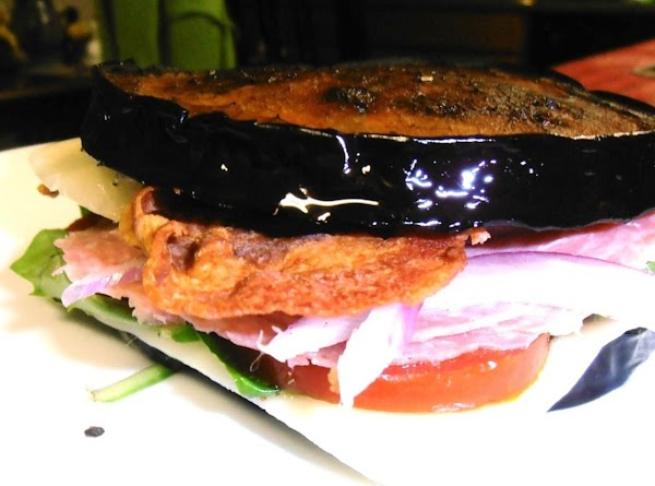 Build your Sandwich:  take one slice of eggplant followed by a slice of...