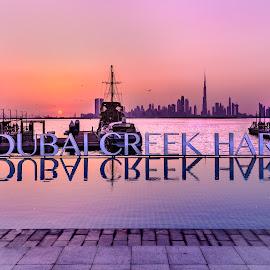 Dubai Creek Harbour by Shabbir Shani - City,  Street & Park  City Parks ( skyline, water front, sky scrapers, dubai, creek, dubai creek harbour, colorful evening, burj khalifa, expo 2020 city, evening )