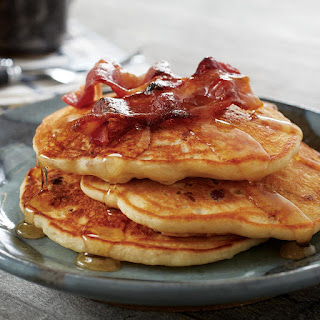 Candied Bacon Pancakes with Cinnamon Brown Sugar Syrup
