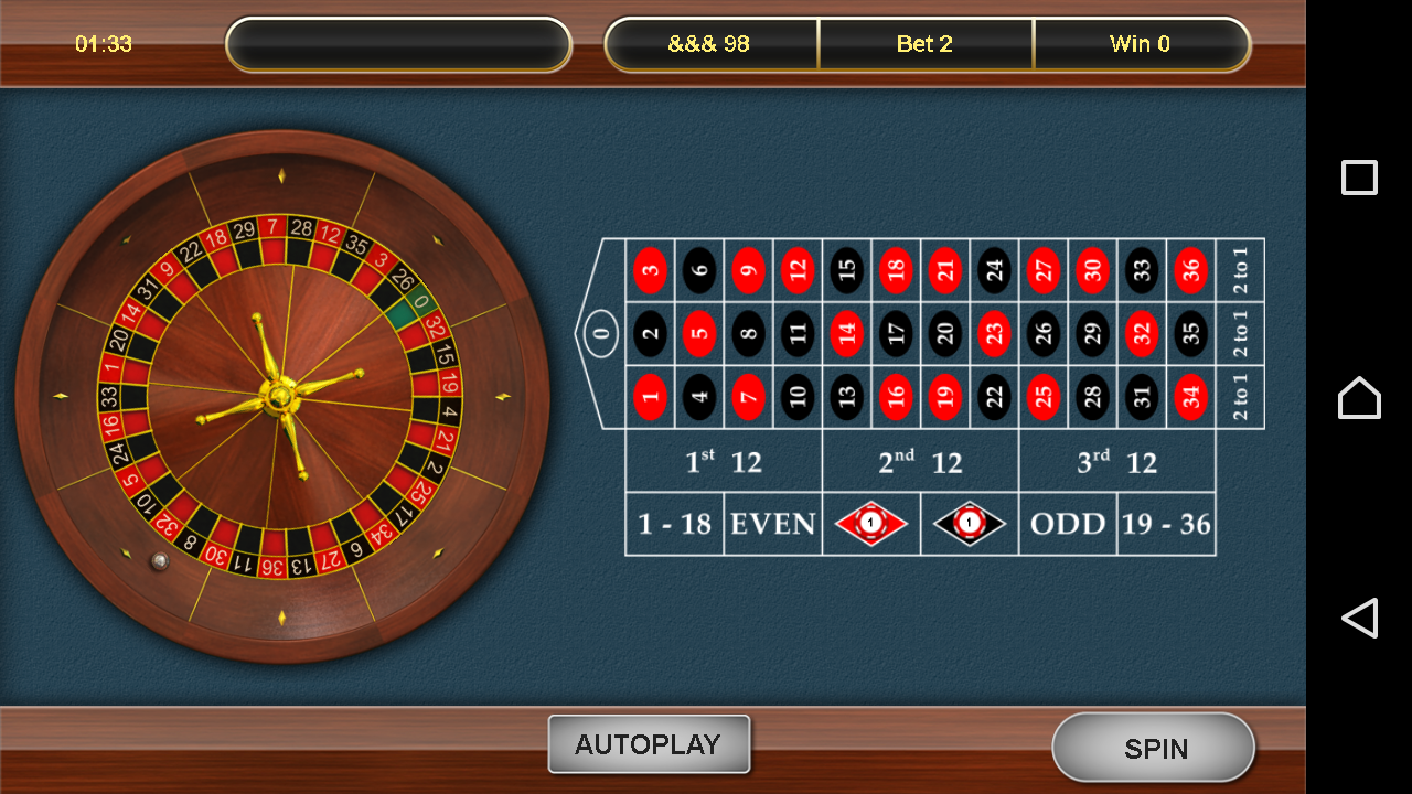 European Roulette- screenshot